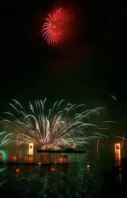 Torii Matsuri (Fire Festival) on Lake Ashi-no-ko, Kanagawa Pref.