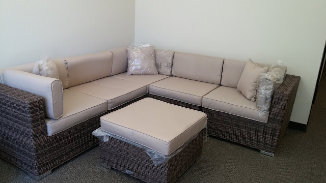 Radeway 6 Piece Patio Furniture Sofa with Protective Covers and Pillows, Brown