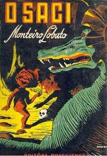 O saci. Monteiro Lobato. Editora Brasiliense. Augustus (Augusto Mendes da Silva). André Le Blanc. Paulo Ernesto Nesti. Capa de Livro. Book Cover. Década de 1950. Década de 1960.