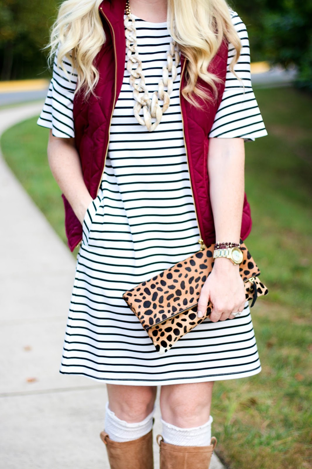 Stripe Dress & Red Puffer Vest + Best Columbus Day Sales to Shop by Washington DC fashion blogger Styled Blonde