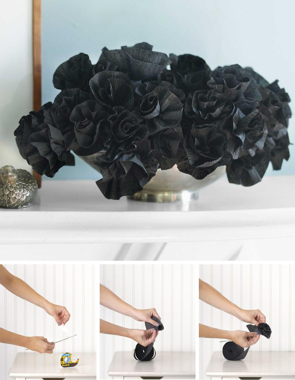 diy para decorar en halloween con ramo de flores negro terrorifico de papel fácil y económico