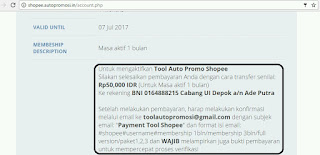 Daftar lengkap paket Tool auto promo shopee