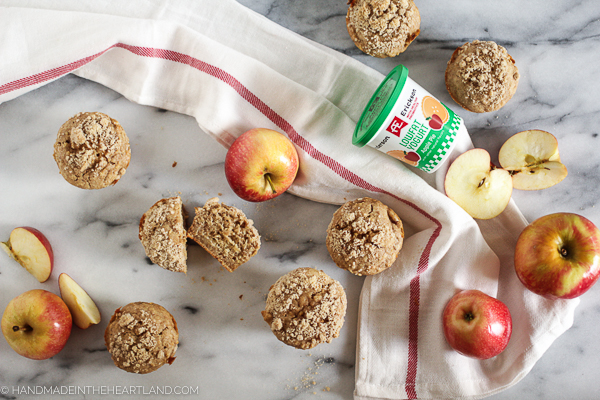 delicious and easy healthy apple cinnamon breakfast muffin.
