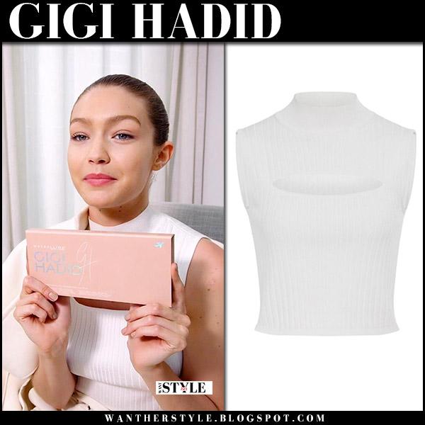Gigi Hadid in white sleeveless top cushnie et ochs with Maybelline Jetsetter palette simple clean look