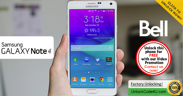 Factory Unlock Code Samsung Galaxy Note 4 from Bell