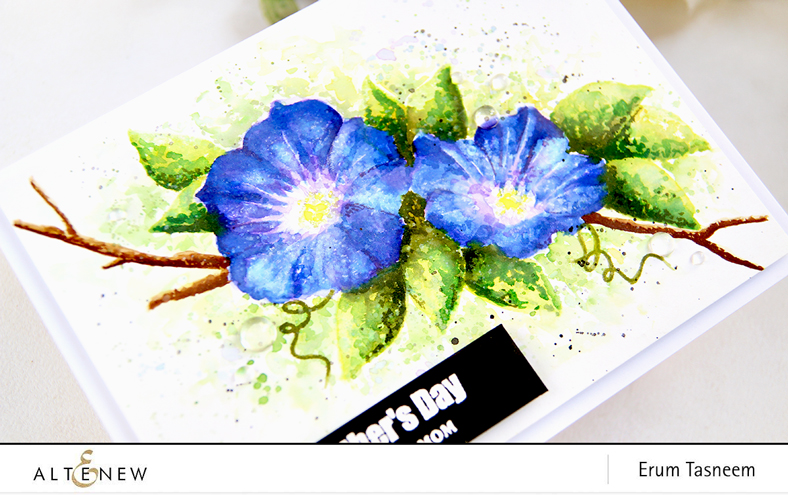 Altenew Build-A-Flower: Morning Glory | Watercolored with Distress Inks | Erum Tasneem | @pr0digy0