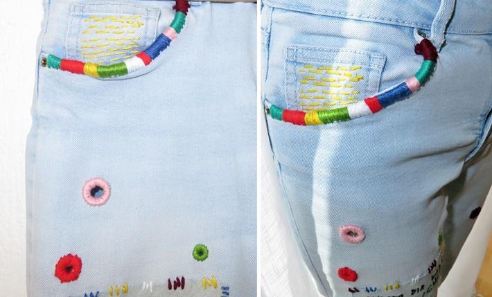 Bestickte Jeans - Tascheneingriff