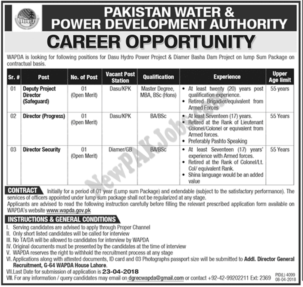 Director, Deputy Director, Jobs in Water and Power Development Authority WAPDA
