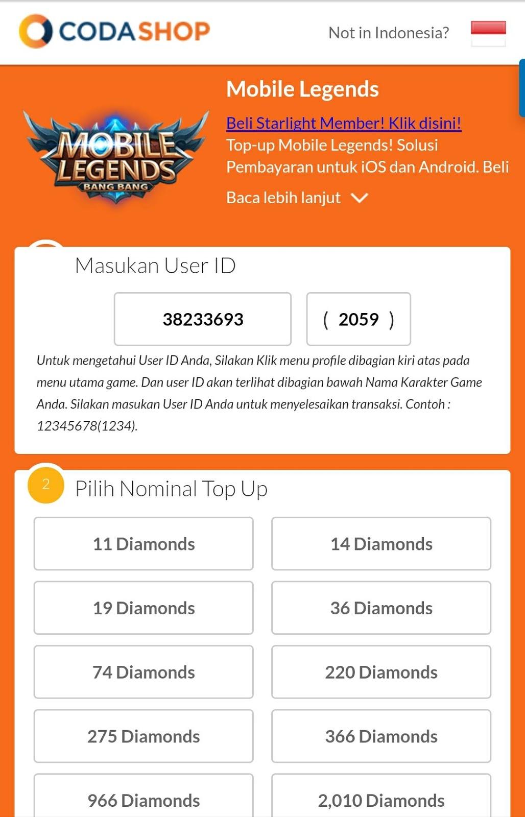 2 Cara Top Up Murah Dan Aman Diamond Mobil Legend 966 Anda Bisa Langsung Mengunjungi Web Site Ny Di Https Codashopcom Id Mobile Legends Beli Dengan Harga Mulai Dari 3rb Jutaan