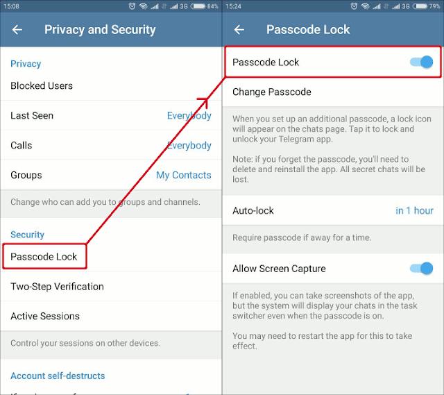 Jendela pengaturan pengunci Telegram di Telegram Desktop