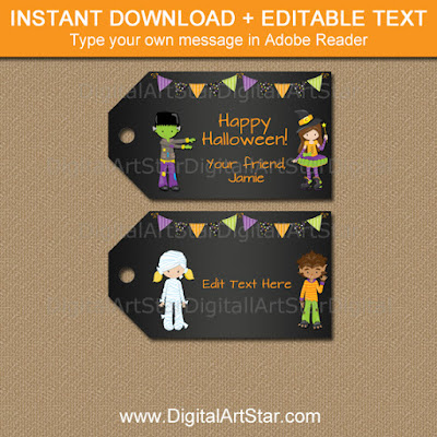 printable kids halloween tags