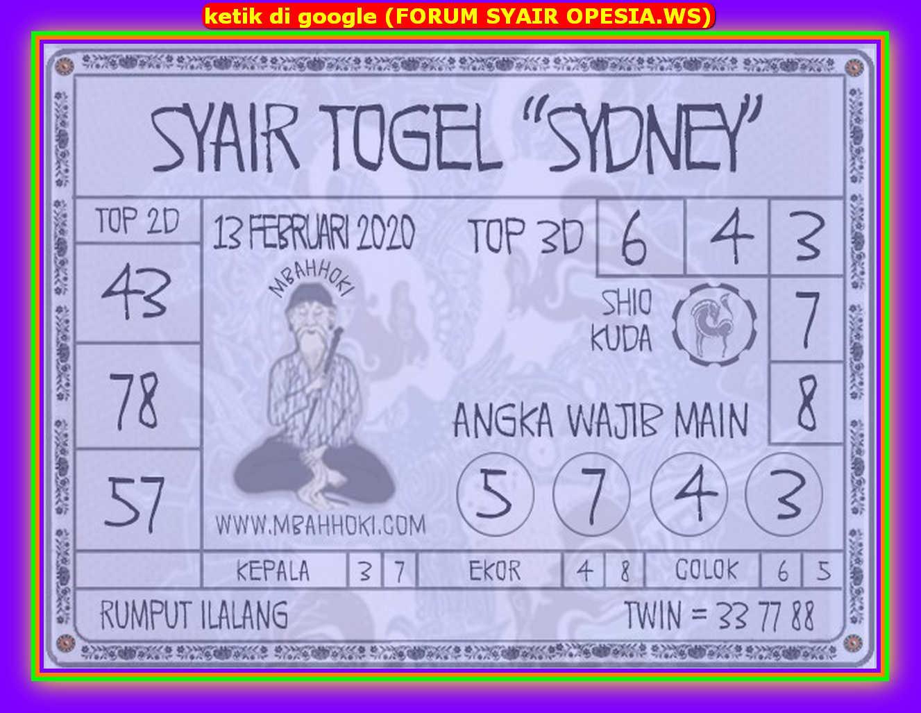 Kode syair Sydney Sabtu 15 Februari 2020 128