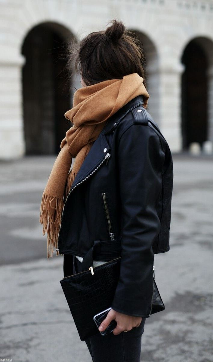 winter street style addiction / nude scarf + biker jacket + clutch + jeans