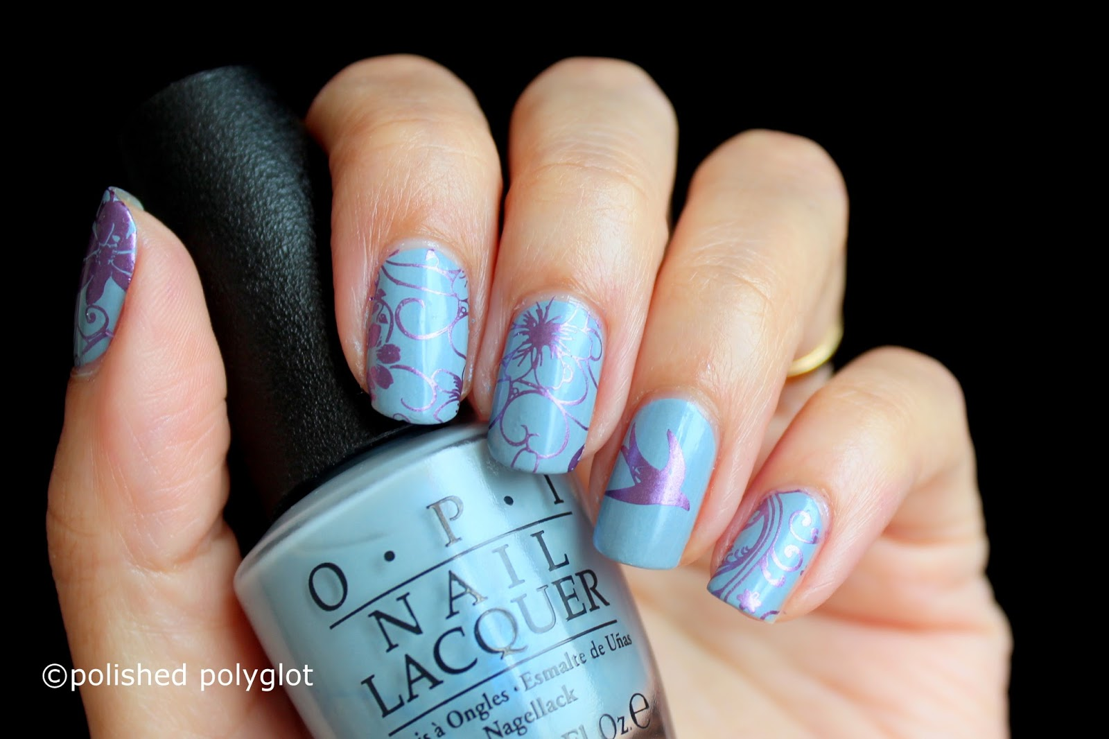 Nail Art │ Birds and flowers over OPI Check out the Old Geysirs ...