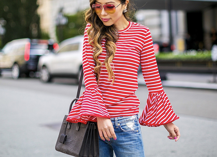 Style Mafia poppy top, striped bell sleeves top, ripped jeans, boyfriend jeans, valentino rockstud, chanel earrings, saint laurent sac de jour bag, san francisco street style, san francisco fashion blog, tinted sunglasses