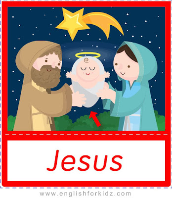 Jesus, Christmas flashcards for ESL