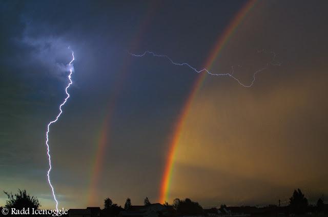 Double rainbow, double lightning