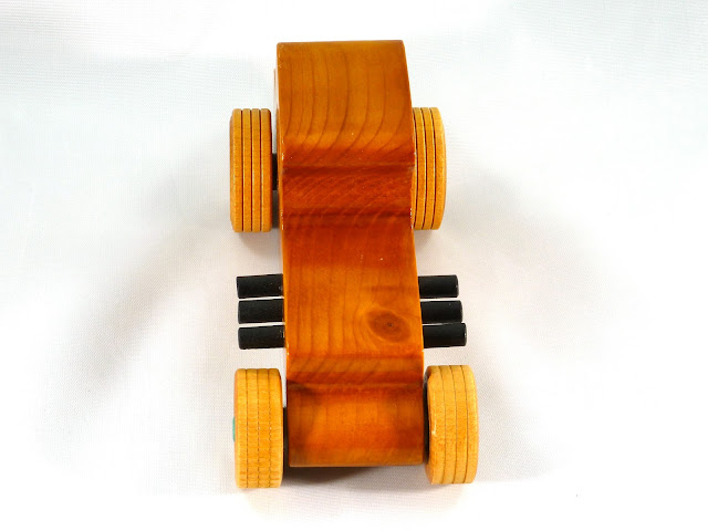 Top Front - Wooden Toy Car - Hot Rod Freaky Ford - 37 T Coupe - Pine - Amber Shellac - Metallic Green Hubs