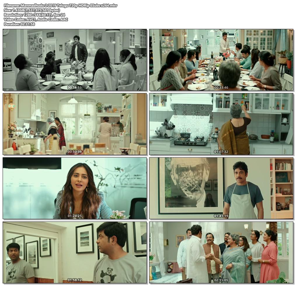 Manmadhudu 2 2019 Telugu 720p HDRip ESubs x264   480p 300MB   100MB HEVC Screenshot