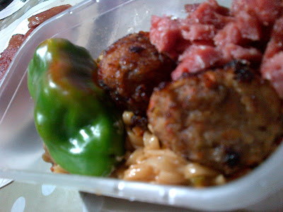 Meatball Yakisoba with Stuffed Bell Pepper
