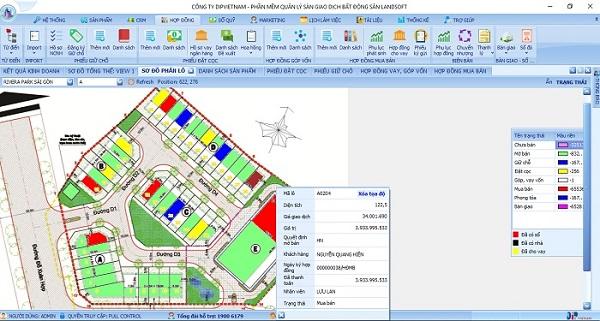 Phần mềm kinh doanh bất động sản giúp quản lý sản phẩm trên sơ đồ phân lô Donacoop