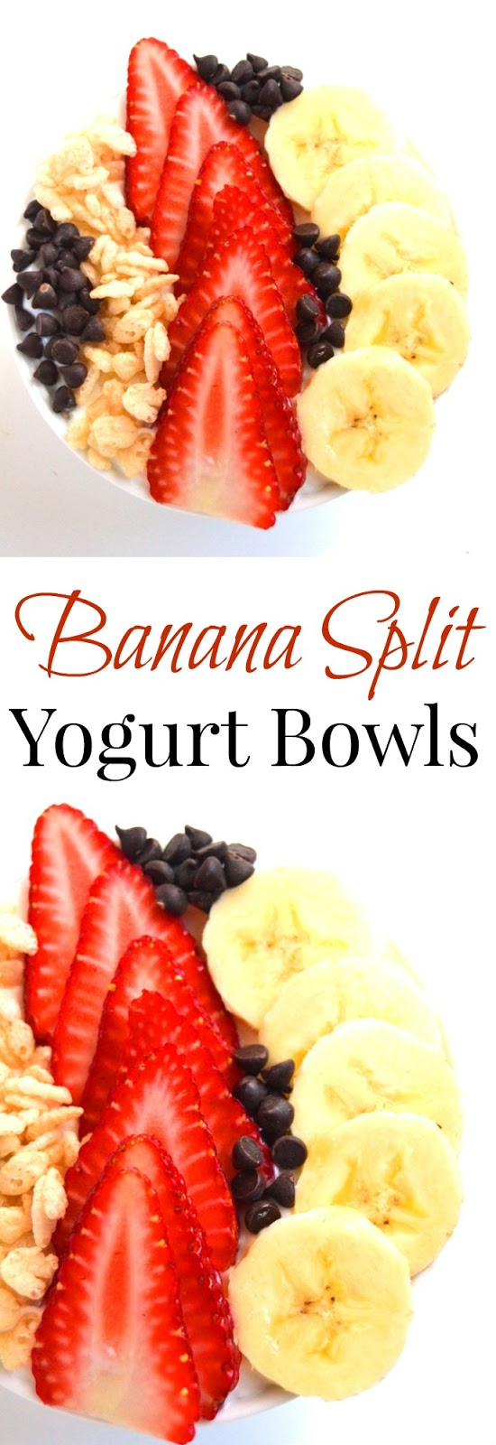 Banana Split Parfaits make the perfect nutritious 5 minute breakfast with Greek yogurt, fresh banana, strawberries, mini chocolate chips and cereal! www.nutritionistreviews.com