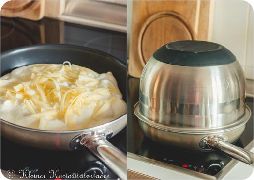 Soufflé-Omelette mit Käse im Entstehen