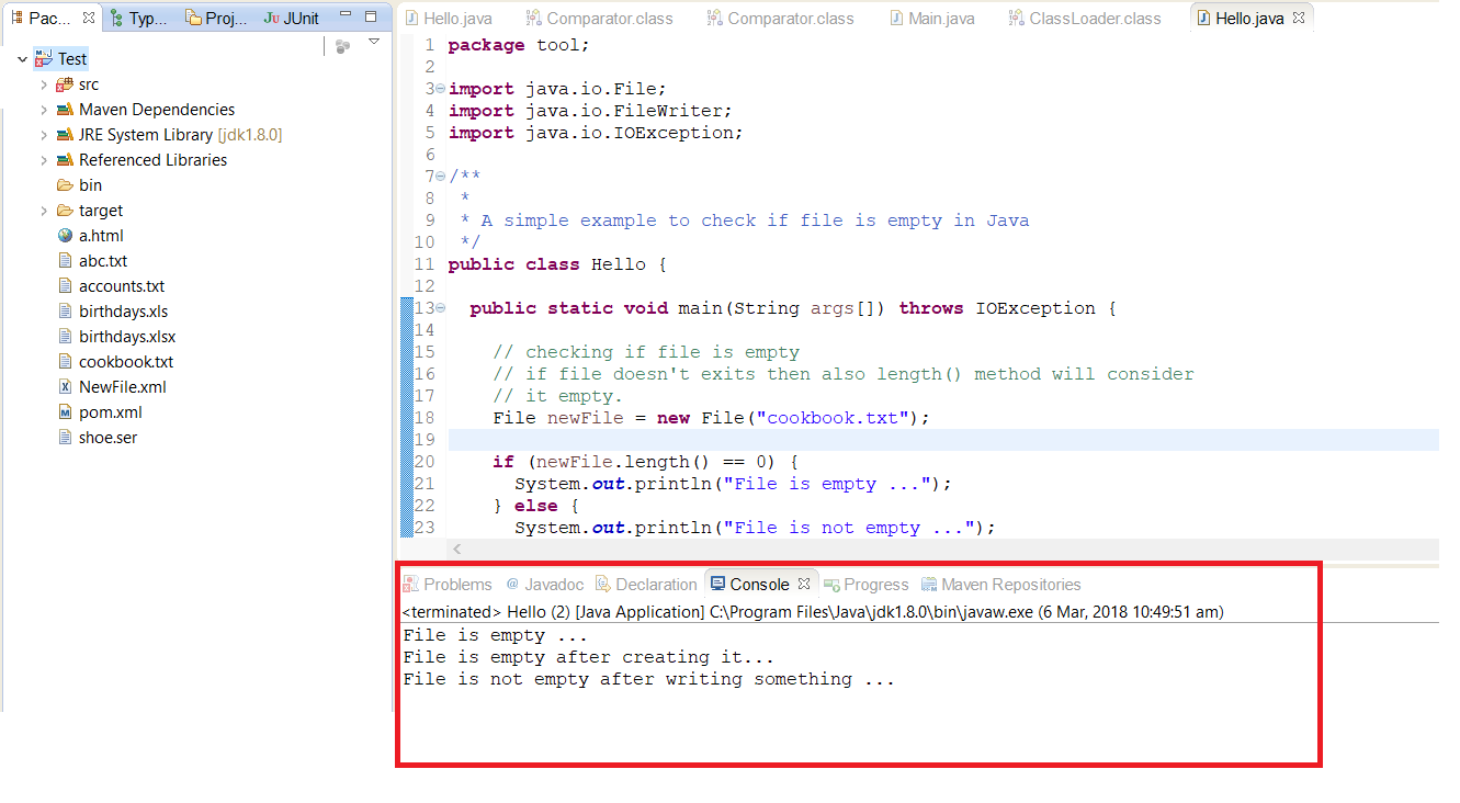 A Simple Example to Check if File is Empty in Java   Java67