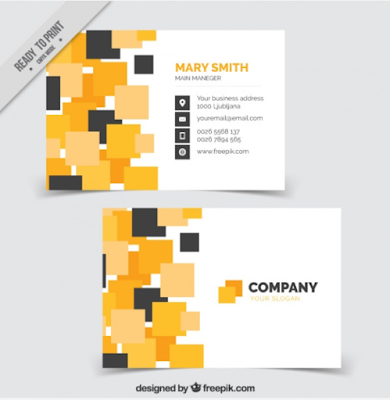 Template Kartu Nama - Modern Business Card With Squares