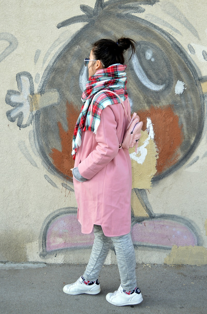 plaid scarf pink coat winter street style outfit