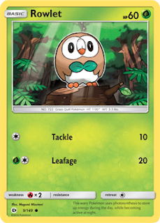 Rowlet Sun and Moon Pokemon Card