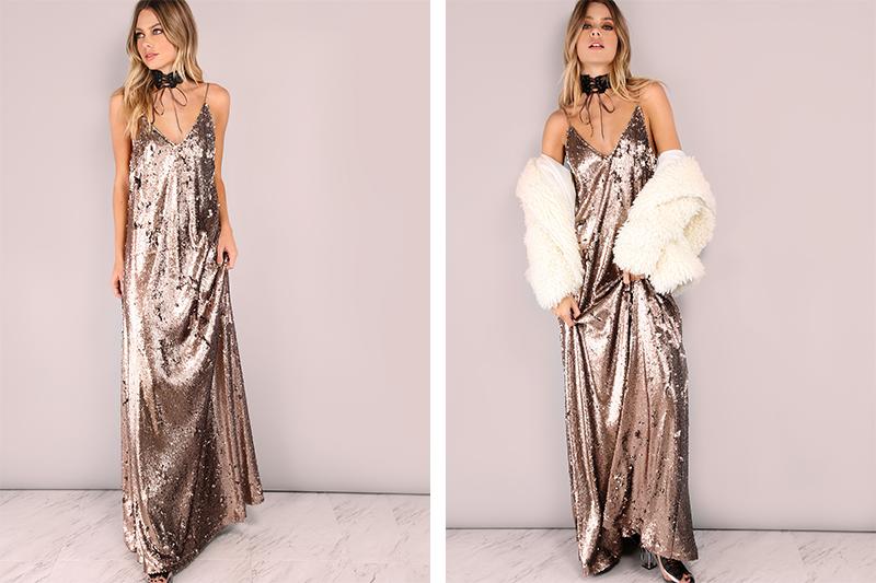 Maxi Slip Dress metálico