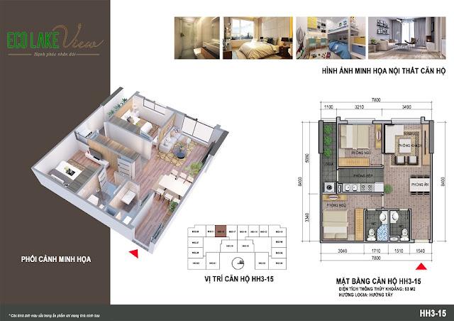 Thiết kế căn hộ 07 tòa HH-3 chung cư Eco Lake View