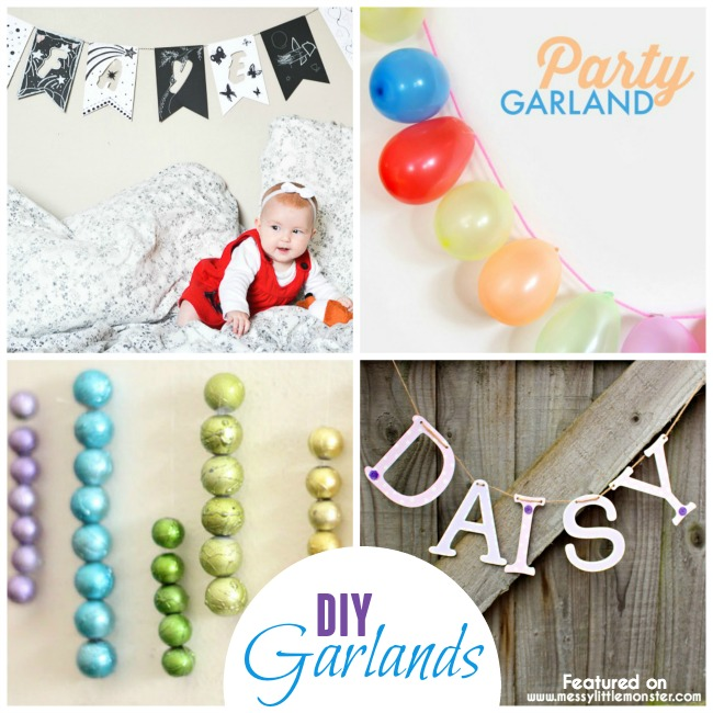 DIY garlands craft ideas.  How to make simple, quick and easy indoor decorations year round for birthdays, babies and kids rooms.