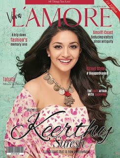 Keerthy Suresh with Cute Smile on LAMORE Magazine Cover Page