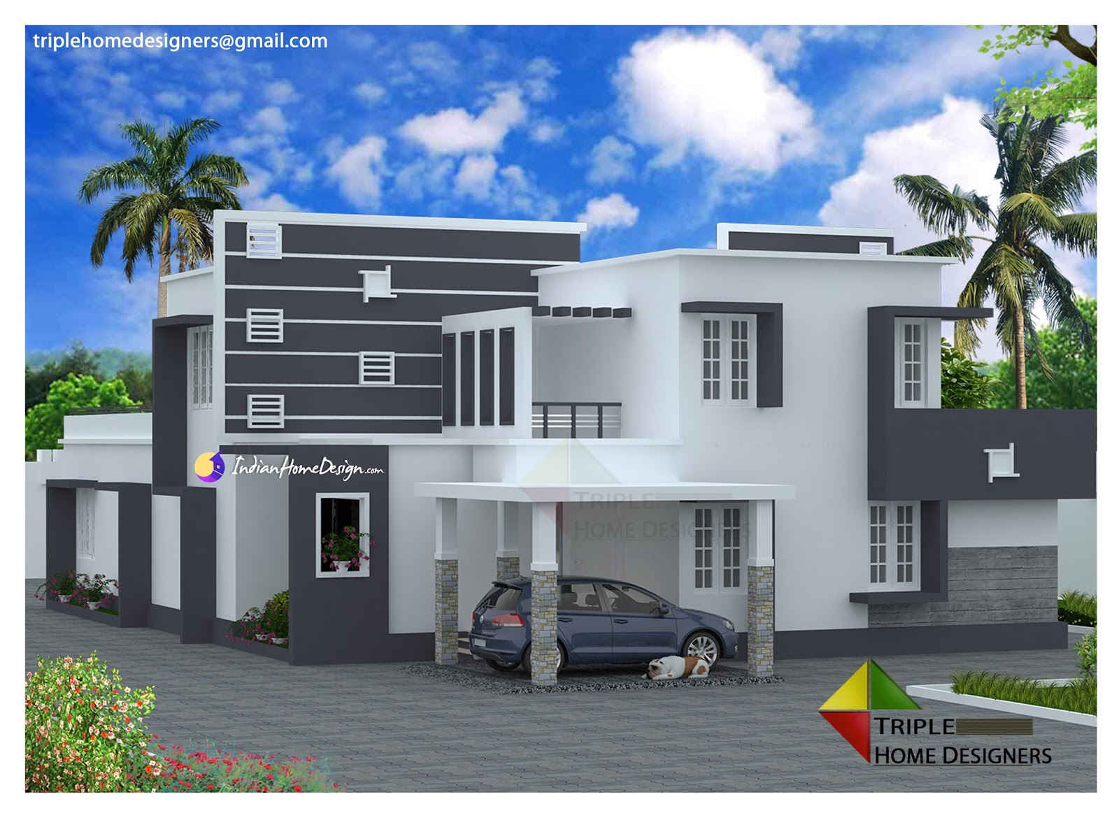 3413 sqft Modern Contemporary Flat roof Villa Design