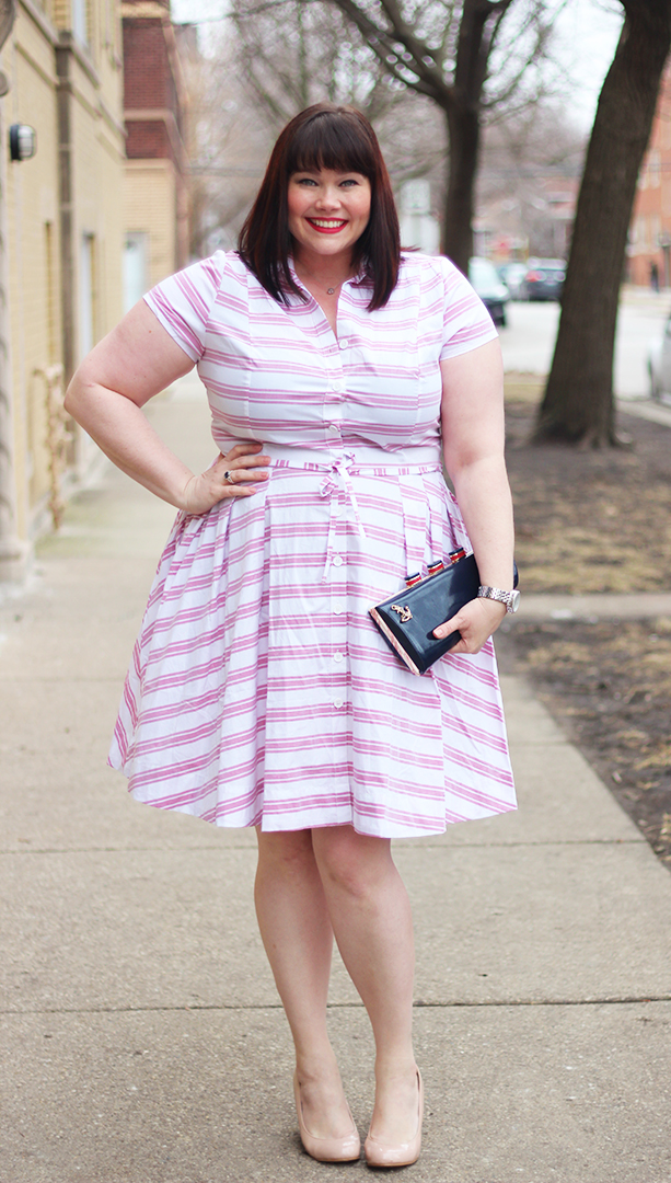 Plus Size blogger Amber from Style Plus Curves, Ellos Striped Shirtdress, Fullbeauty.com, Kate Spade