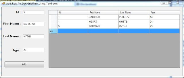 VB.NET Insert Row To DataGridView Using TextBoxes