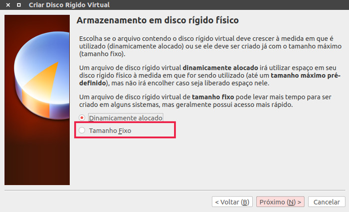 definir tamanho do hd no virtual box no ubuntu