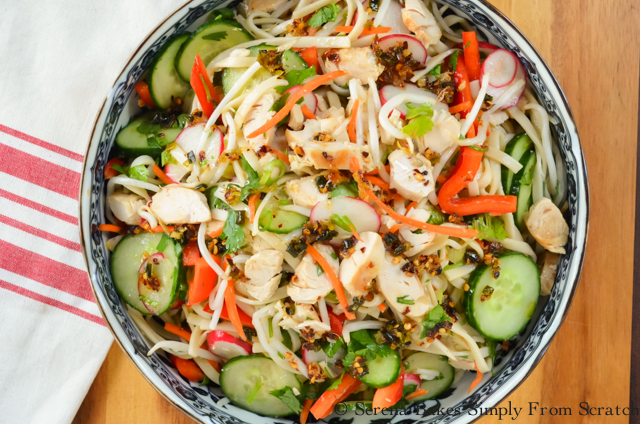 Asian Noodle Chicken Vegetable Salad with Chili Scallion Oil