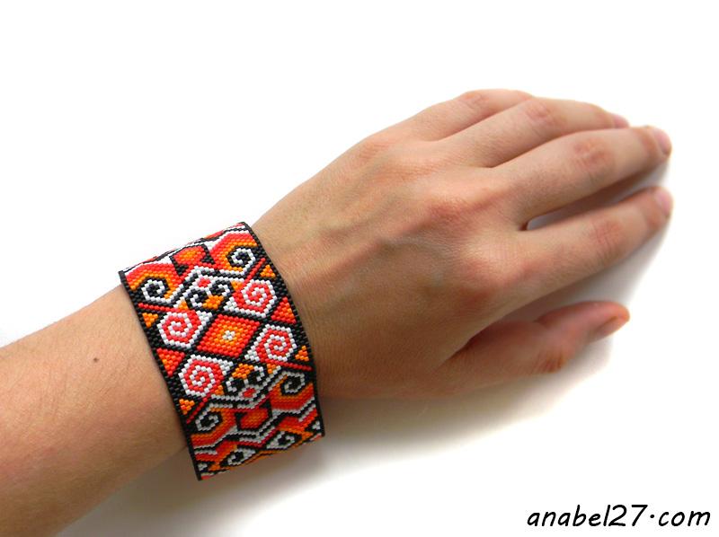 купить широкий бисерный браслет анабель
