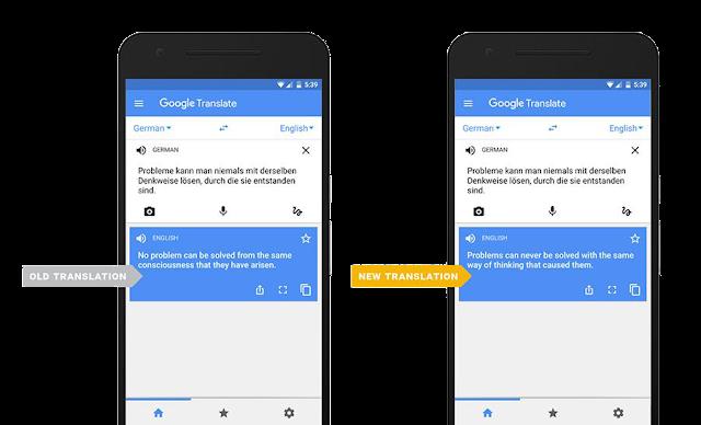 Screenshot des alten und neuen Google Übersetzers