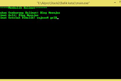 Program Pembalik Kalimat Dengan Stack di C++