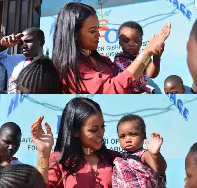 Chris Brown ex girlfriend karrueche tran breaks down in tears as she visits IDP camp in Abuja (photos)