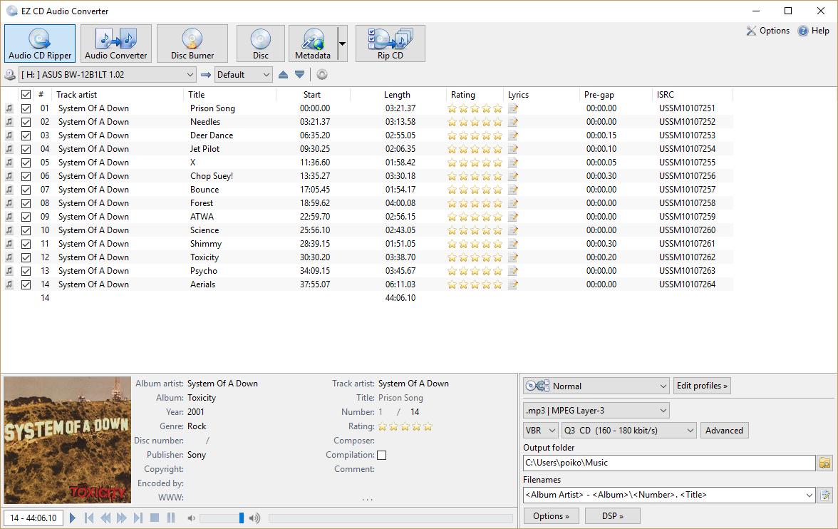 برنامج قوي لتحويل الصوت ، سهل الاستخدام وسريع EZ CD Audio