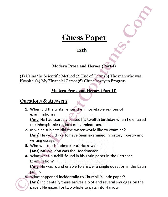 guess paper intermediate part 1 For helping in students preparations of the examinations we have given the 1st year english guess paper 2018 inter pat 1 & part 2 guess papers(all subjects).