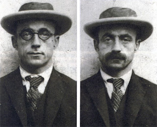 Brazilian police mugshots of Meneghetti in two of the many disguises he used while on the run