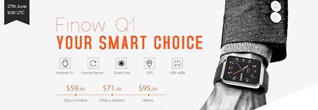 Apple Watch似で単体動作可能なスマートウォッチ、Finow Q1が登場!特別価格59ドルで発売です!