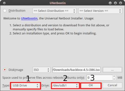 Kemudian pilih Type USB Drive, Drive /sda/sdb1 (tergantung letak flashsdisknya bisa di /dev/sdb2) lalu klik OK