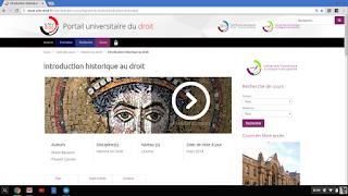 Page d'accueil du site de l'Université numérique juridique francophone